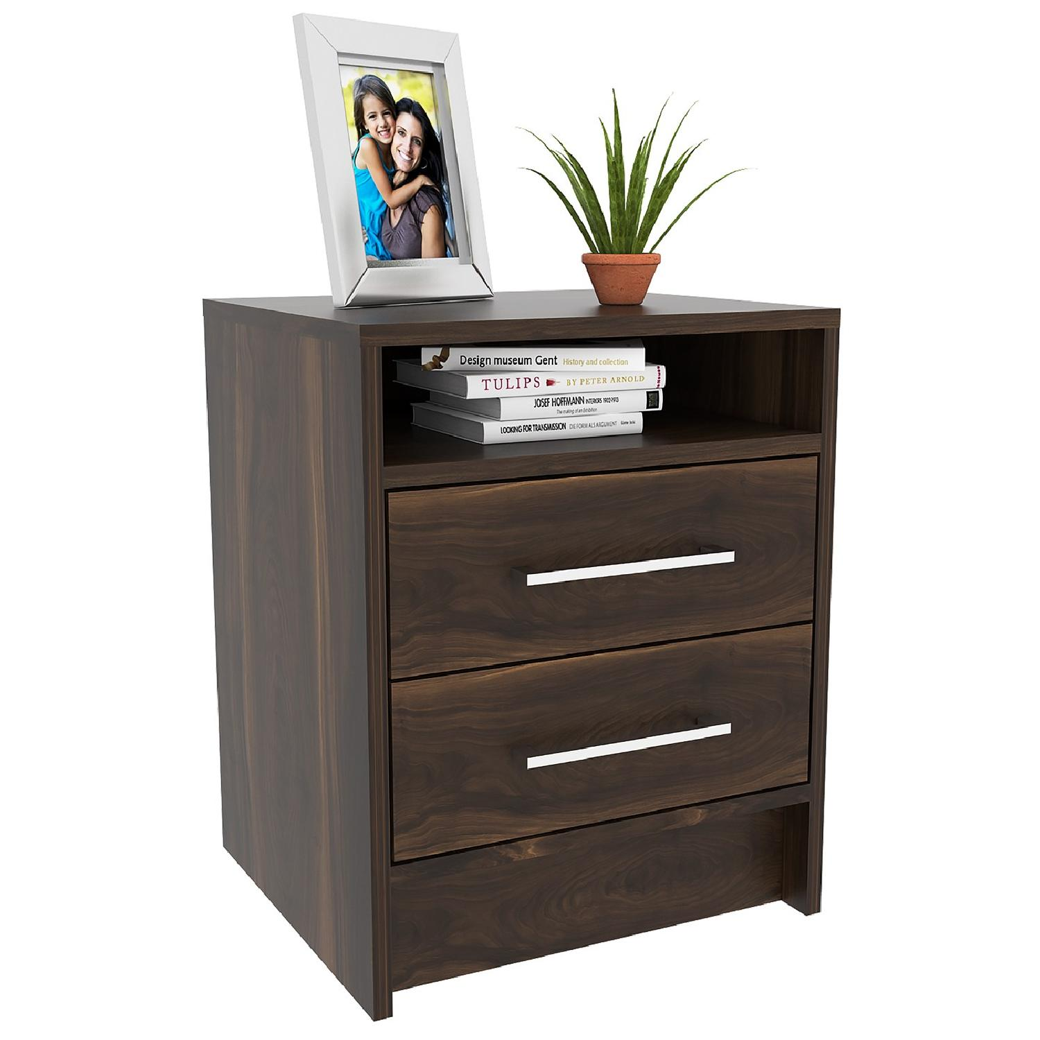 RTA Design Eter Collection 2-Drawer Nightstand in Brown