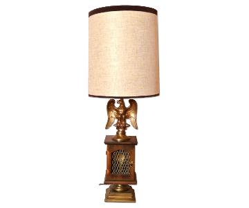 Vintage Eagle Table Lamp w/ Electric Flame Accent