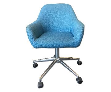 Modern Blue Linen Office Chairs