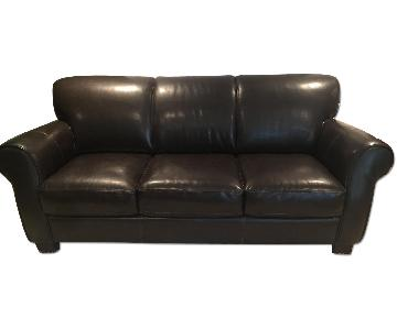 Raymour & Flanigan Brown Leather Structured Sofa