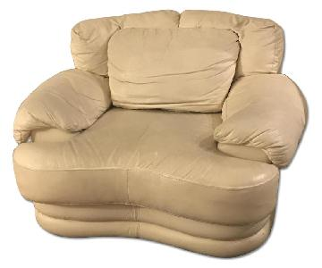 Off White Ivory Leather Chair and a Half