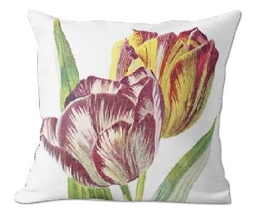 Flora and Fauna Tulip Vintage illustration Pillow