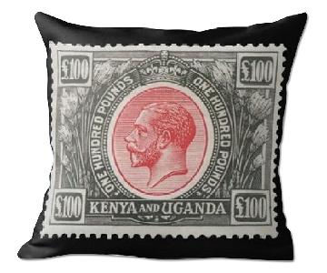 Vintage Postage Stamp 1925 Red & Black Kenya and Uganda Pillow