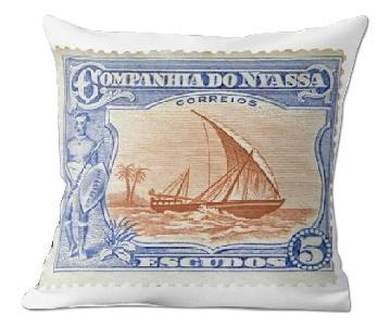 Companhia Do 5 Escudos Stamp Pillow