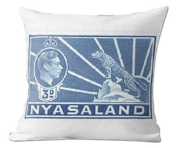 George VI Stamp Nyasaland 1938 3D Blue Pillow