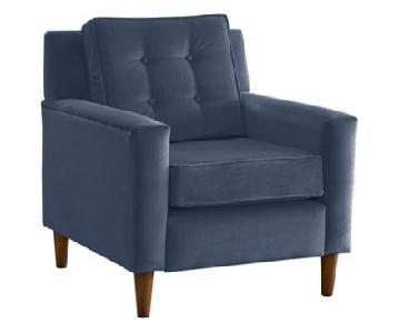 One Kings Lane Winston Cotton Armchair in Steel Blue