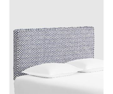 World Market Blue & White Ikat Upholstered Headboard
