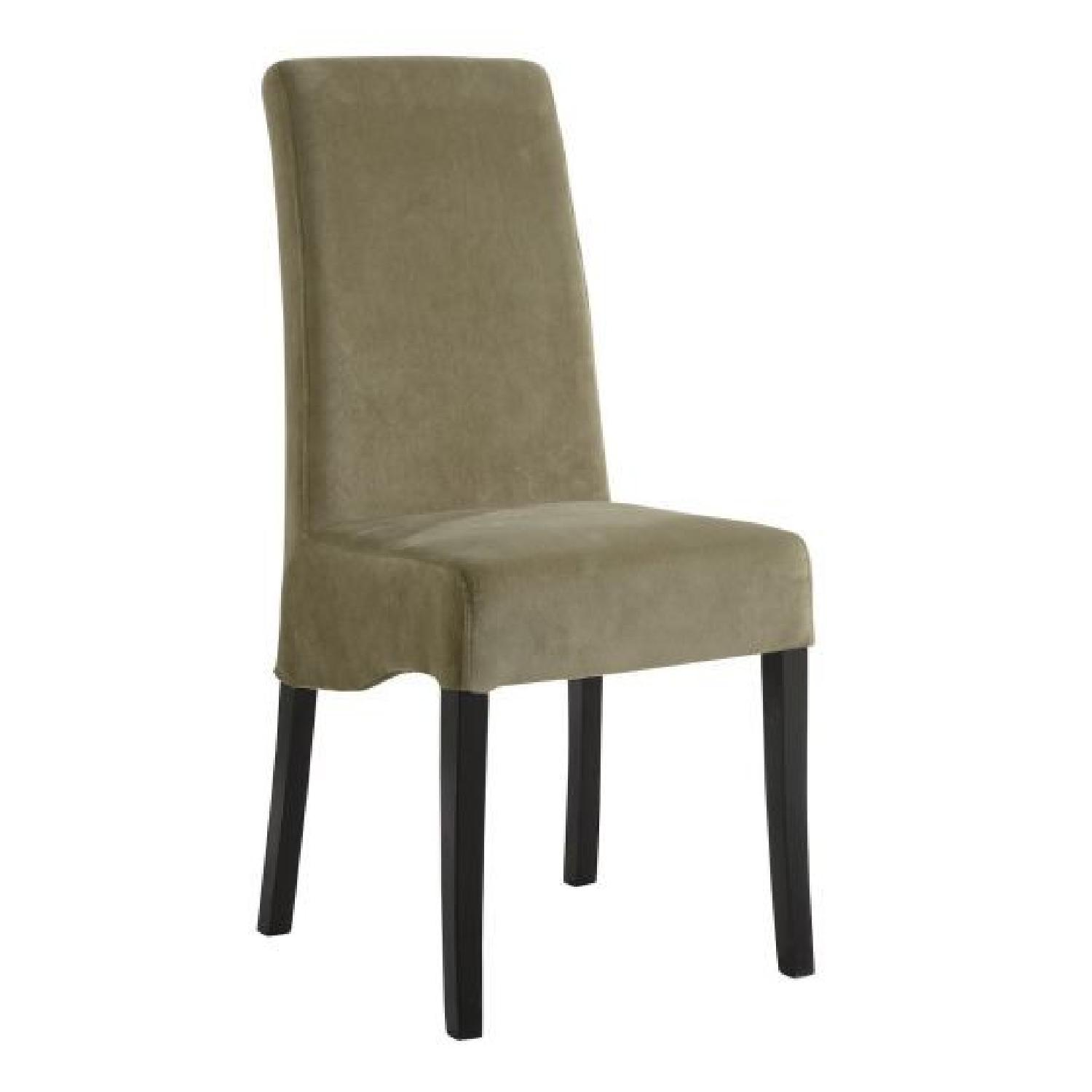 Plush Dining Chairs in Green Fabric Upholstery