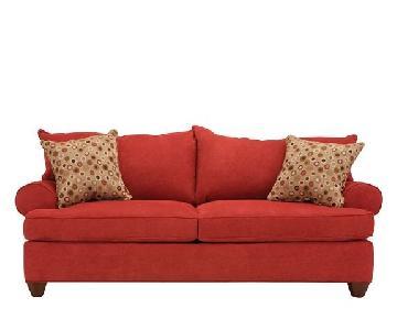 Raymour & Flanigan Red Sofa & Ottoman + 4 Throw Pillows