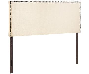 Modway Queen Size Upholstered Linen Headboard With Nailhead