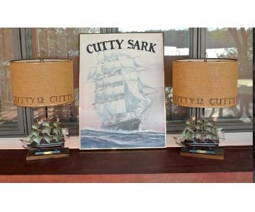 Cutty Sark Model Ship Lamps + Canvas