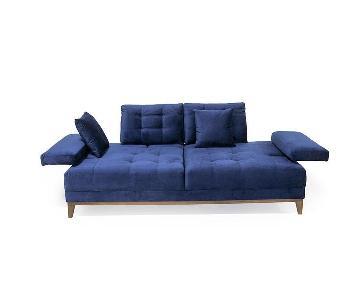 Blue Tufted Extendable Sofa