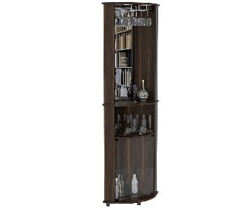 RTA Design Chicago Collection Glass Doors Bar Cabinet in Brown