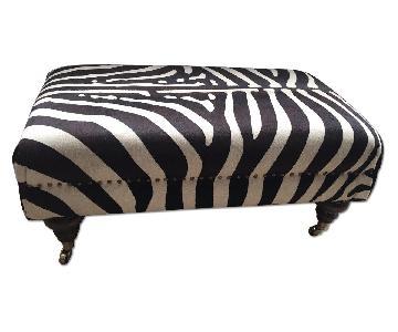 Custom Zebra Hide Ottoman w/ Nail Heads & Caster Turned Legs