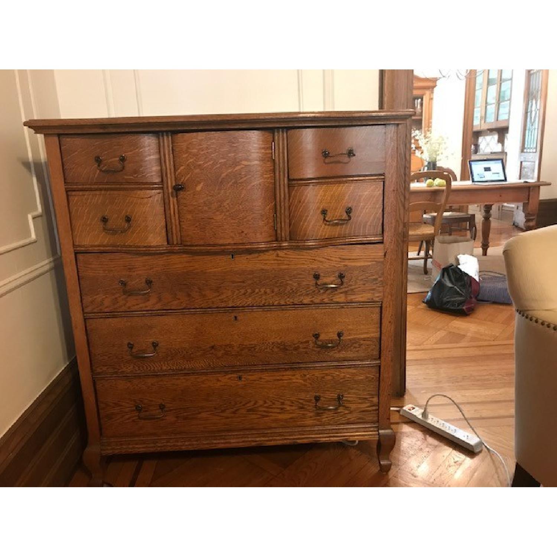Antique Oak Refinished Bonnet Dresser-0