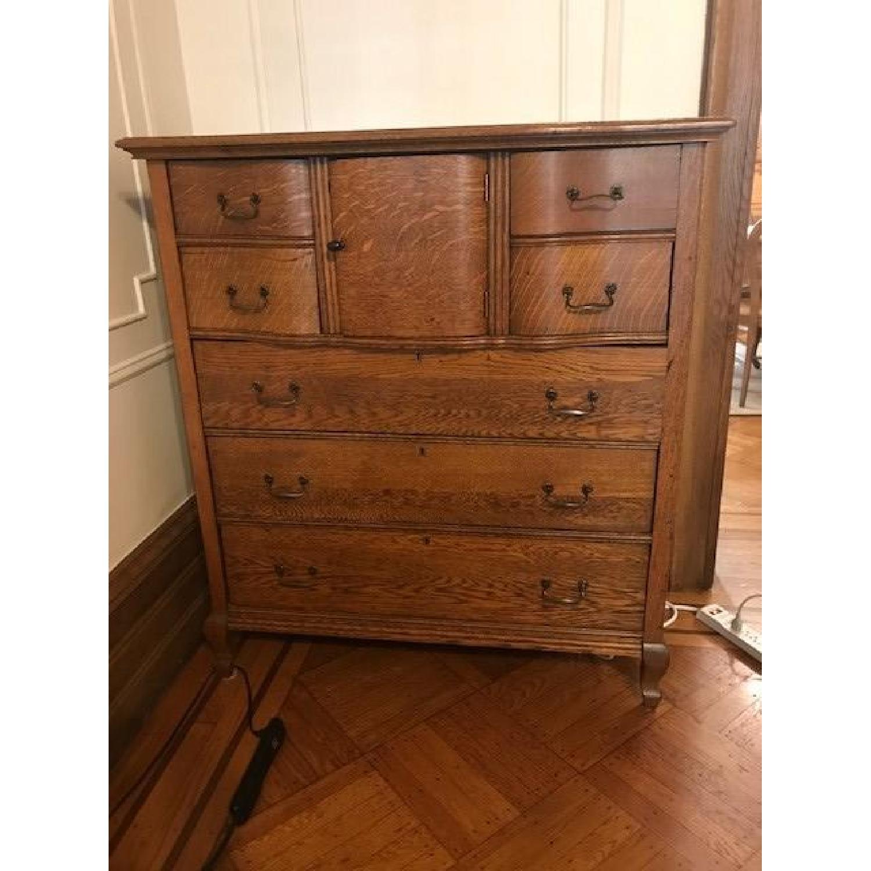 Antique Oak Refinished Bonnet Dresser-2