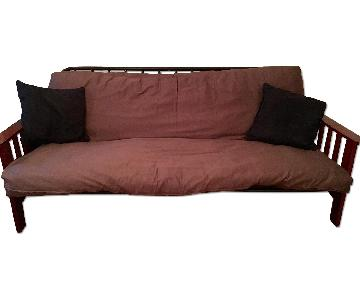 Cherry Wood Easy Fold Full Sized Futon