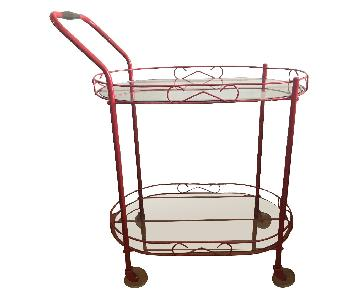 Vintage Glass & Metal Bar Cart in Red