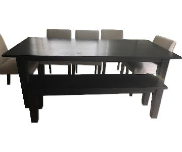 Crate & Barrel Java Basque Dining Table w/ Bench