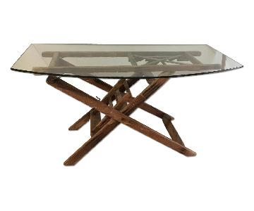 Wallpaper Glass Top Ladder Base Table