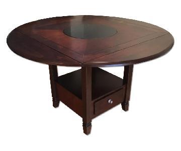 Raymour & Flanigan Zahara Round Dining Table w/ Drop Leaf