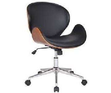Langley Street Black Leather & Walnut Desk Chair