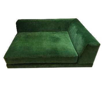 Custom-Made Green Velvet Sectional Couch
