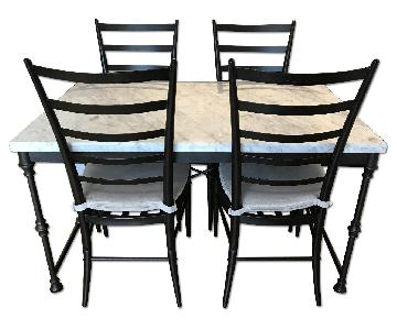 Crate & Barrel Stone-Top Dining Table w/ 4 Chairs