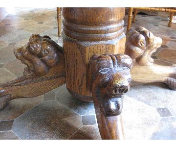 Oak Reproduction Kitchen Table w/ Carved Clawfoot & 5 Chairs