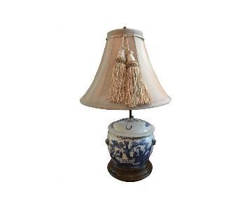 Chinese Blue & White Porcelain Lidded Vase Table Lamp