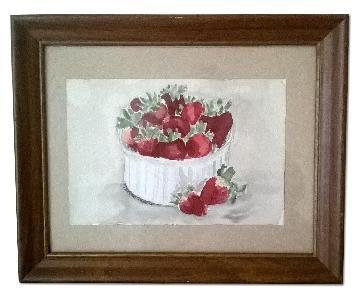 Watercolor Painting - Ramekin of Strawberries
