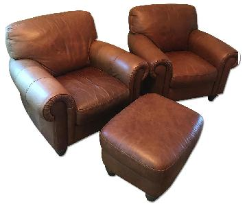 Brown Leather Club Chairs & Ottoman