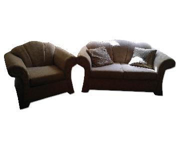 Fabric Loveseat + Chair & Throw Pillows