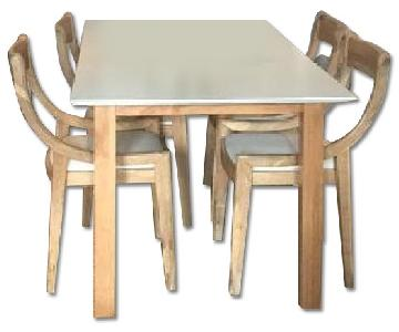 Pine Wood Dining Table w/ 4 CB2 Chairs