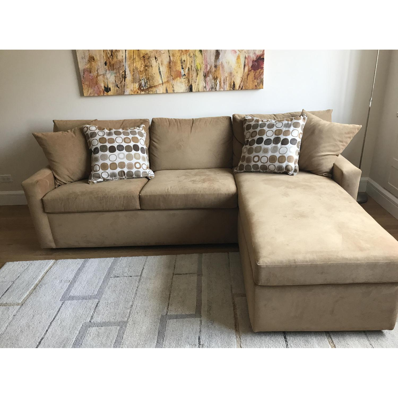 Picture of: Carlyle Custom Ultrasuede Queen Sleeper Sofa W Storage Aptdeco