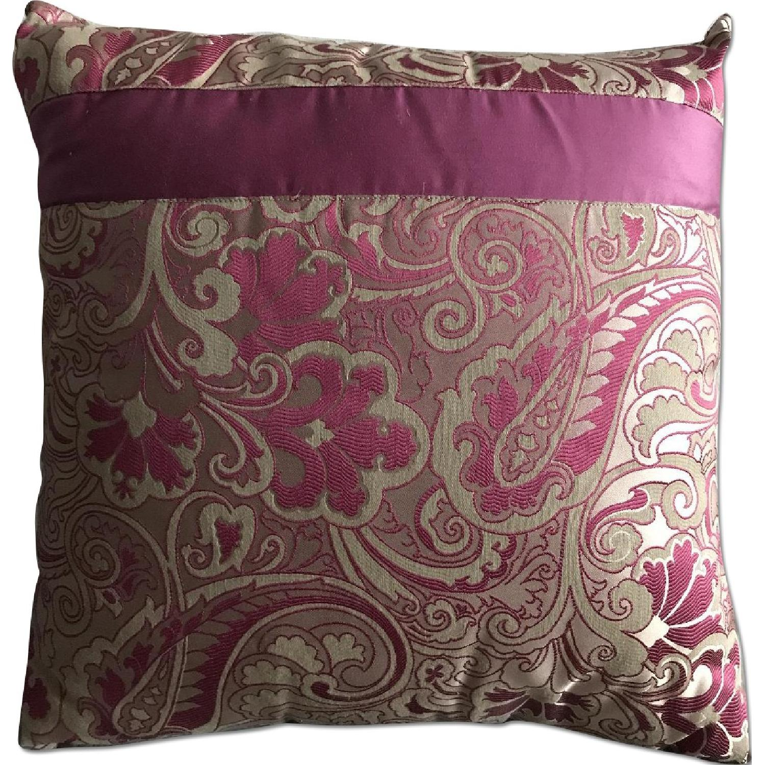 Etro Home Pink Paisley Square Decorative Pillow - image-0