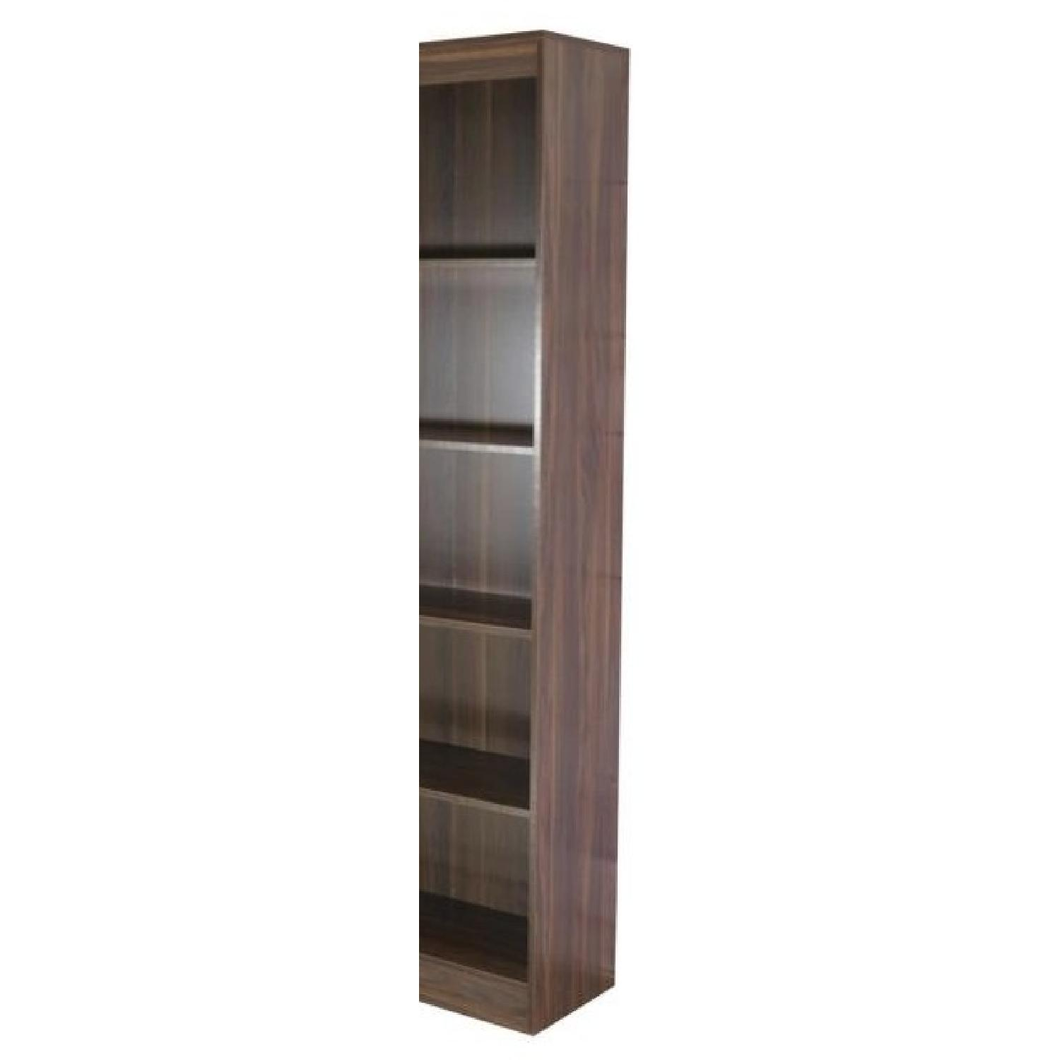 5-Tier Narrow Bookcase in Dark Walnut Finish