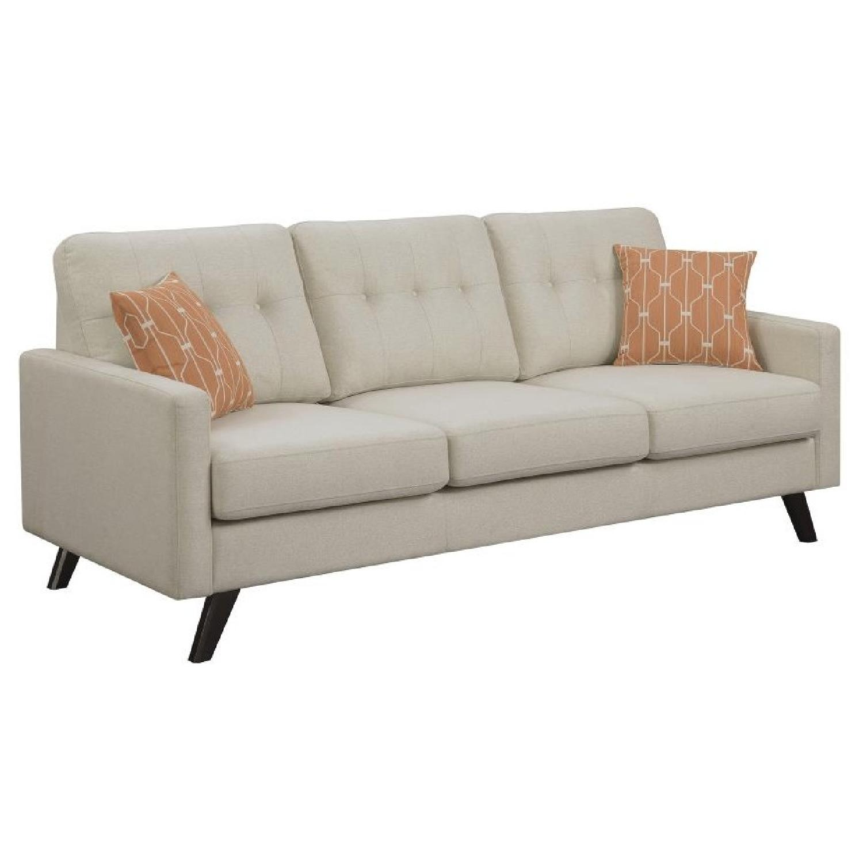mid century style linen sofa w detached cushions aptdeco. Black Bedroom Furniture Sets. Home Design Ideas