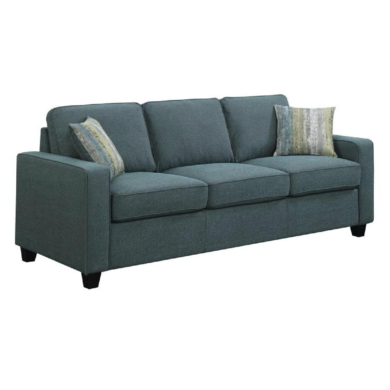 Track Arm Sofa in Blue Linen-Like Fabric