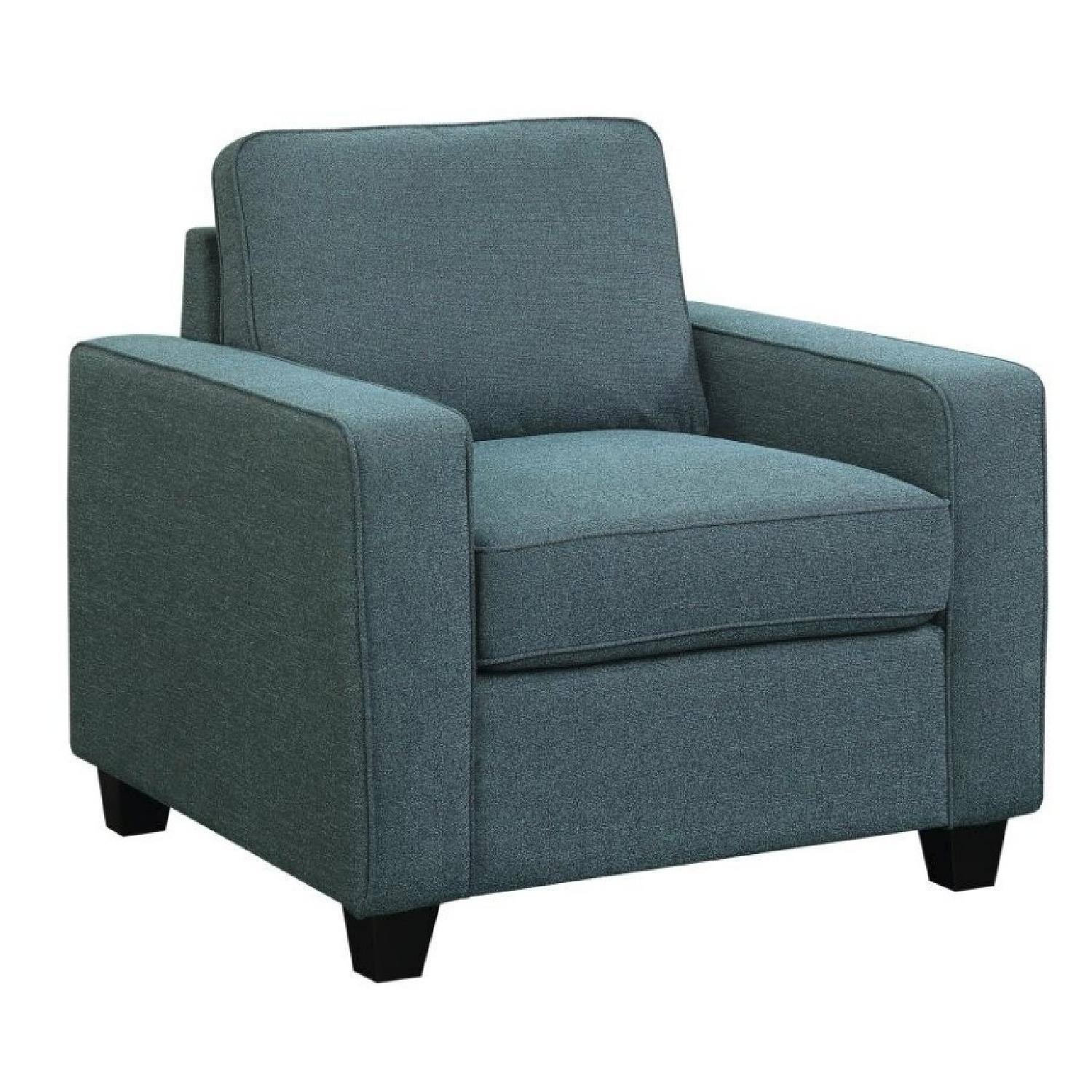 Track Arm Chair in Blue Linen-Like Fabric