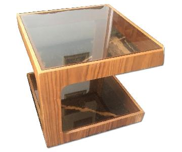 Mid Century Wood & Glass Coffee Table
