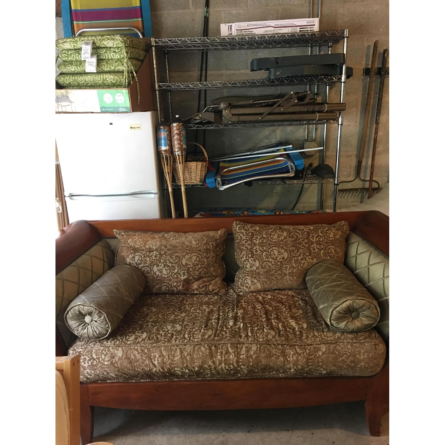 Wood Frame Two Seater Sofa-0