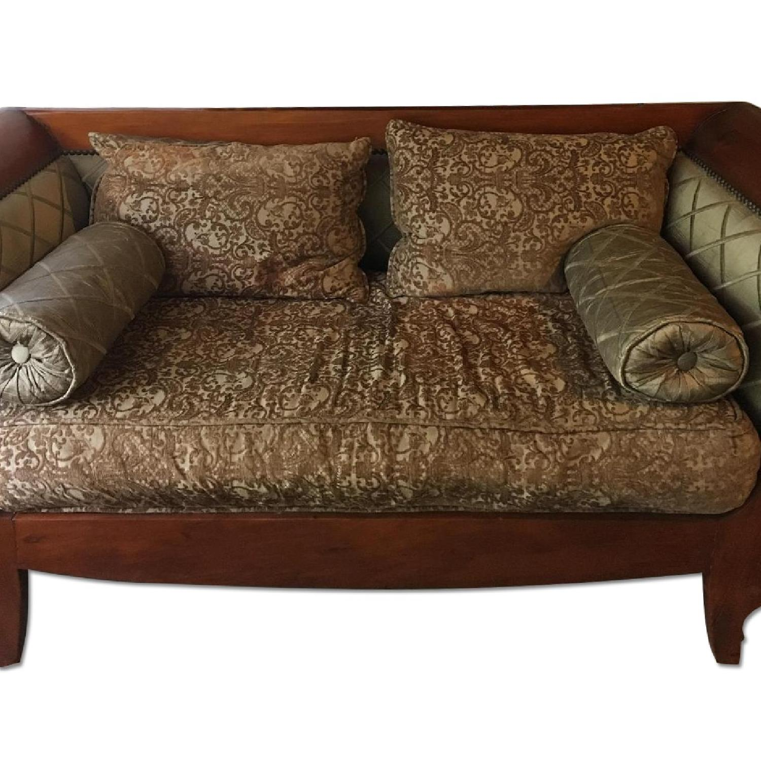 Wood Frame Two Seater Sofa