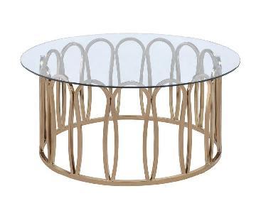 Round Coffee Table w/ Chocolate Chrome Base & Glass Top