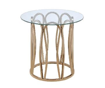 Round Side Table w/ Chocolate Chrome Base & Glass Top