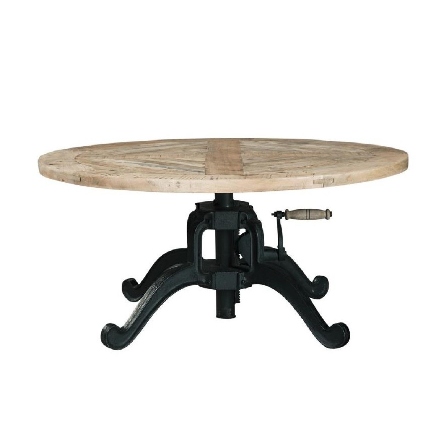 Round Coffee Table With Adjustable Height: Height Adjustable Round Coffee Table W/ Crank Handle
