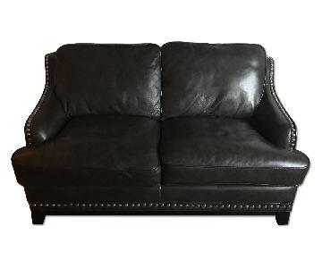 Raymour & Flanigan Dark Grey Leather Loveseat w/ Nailhead Tr
