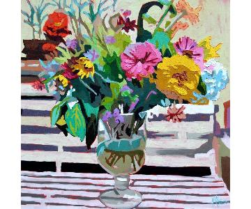 One Kings Lane Kate Mullin Zinnias Floral Painting Canvas Pr