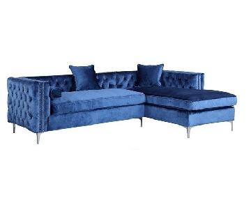 Iconic Home Da Vinci Tufted Gold Trim Blue Velvet Right Faci