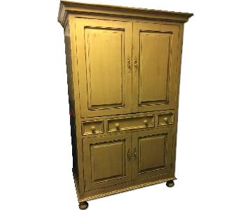 Hand-Crafted Mustard Yellow Armoire